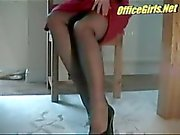 Secretary In Black Fully Fashioned Silk Stockings Gives Candid Voyeur Upksirt Views