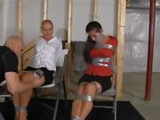 Two girls duct taped and gagged