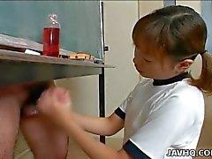 Japanese cutie wanks a hard dick
