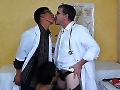 Twink asian patient spoiled by two kinky doctors