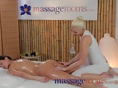 Massage Rooms Lesbian teen's perfect body oiled and worked by cute blonde