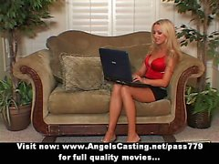 Blonde milf with laptop toying pussy and undressing lesbian lover