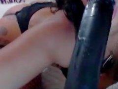 Hot Ebony GF Rubs Pussy in Fishnets on Cam