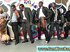 Skinny white slut sucks big cock