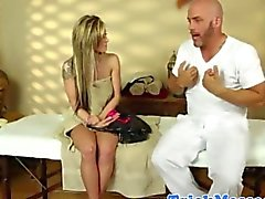 Massage blonde and masseur make a deal