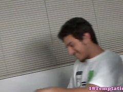 Stepsister teen jerking in classroom