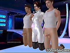 Dubbele penetratie met 3D cartoon brunette Babe