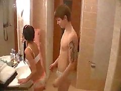 Teen copulation in bathroom