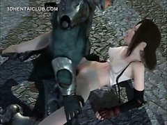 Аниме девушка превратиться в секс-рабыню и трахавший чудовища
