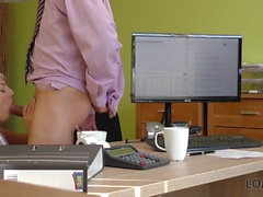 LOAN4K. Passionatre fucking on the table in office of loan..