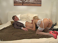 Mamma With Nylons Enjoys Hardcore Sex