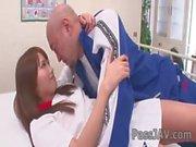 Innocent looking Suzu Minamoto with her favorite gym teacher.