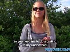 PublicAgent Blonde with clean shaven pussy fucks in the grass