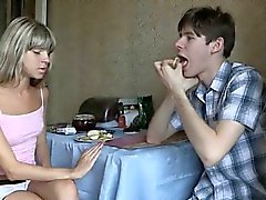 Legal age teenager unfathomable throat fellatio