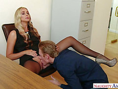 Lusty super hot golden-haired haired secretary lures her co worker for admirable sex