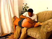 Blonde wife likes to be put over his knee and get her ass whacked