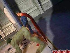 Bomba del superman Anime assfucking un ragazzo grande
