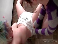 Lesbian teen sluts in diapers play sexgames