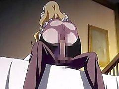 Blond maid Mangas avec d'énormes titties chevauche la queue difficile