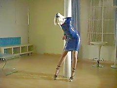 Lola, Blue Rubber Minidress Tape Límite para publicar