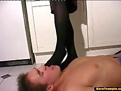 Daniella Trampling in Black Stockings and High Heels
