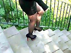 Black Miniskirt and High Heels