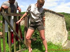 Fetish skank pissed on