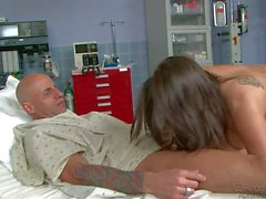 Slutty nurse Rachel Starr sucks rides hard cock like crazy