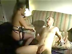 Dirty talking woman fucks a dude
