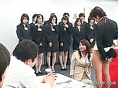 Asian sex seminar with teen babes giving BJs in group