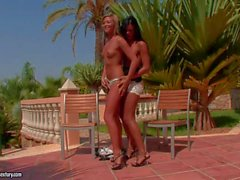 Natalia Forrest and Ashley Bulgari satisfy their Lesbian desires outdoors