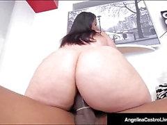 Kubanska BBW Angelina Castro sitter på Big Black Cock för en försäljning!