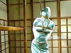 Pervert slut tormenting tied sex slave