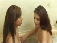 Two sweet lesbians Nataly and Valerie do some tender pussy licking