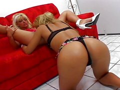Two horny Latina lesbians orgasm