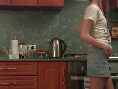 Dünn Redheadfrau in Strumpfhose Einzel