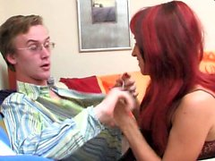 Redhead Mogna Seducing Young Guy