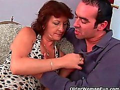 Grannies love getting a warm cumshot on their tits and face