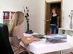 Tattooed arms redhead licks female agent