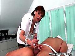 Domina makes her slave cum on himself