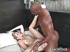 Blondie chick loves massive black dick fucking her outdoors