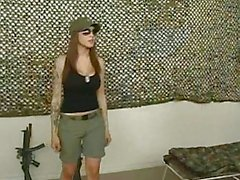 Gorgeous sexy busty brunette teen slut does blowjob in the army