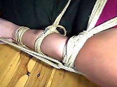 Curvy girl bound in kitchen