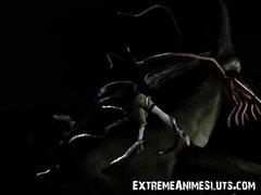 3D с щупальцами Дракон Warrior Трахается с девушкой !