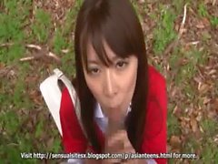 amateur Asian Teen blowjob outdoor public sex