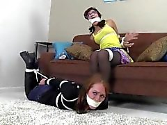 Madalyn&Sahrye hogtied and tape gagged!