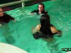 Lesbian friends get touchy inside public pool