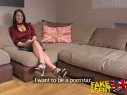Fake Agent UK Posh raven-haired MILF swallows big cock in one go