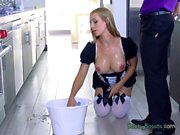 Hot Maid Nicole Aniston Kneels Down For Hung Boss