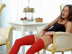 Leggy Zaya in red lingerie goes solo